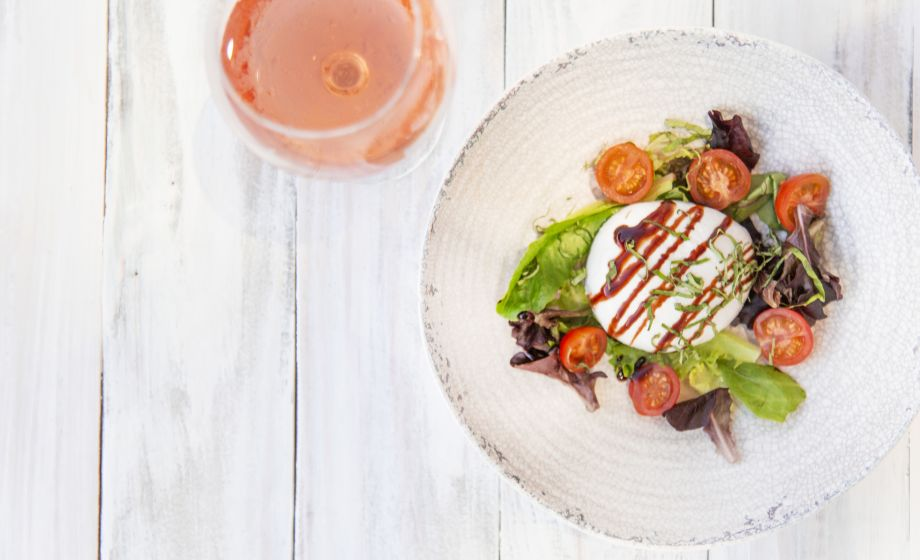 Caprese Salad Creamy Burrata, Tondu Balsamic, Basil and Olive Oil paied with a Rosé Inanna   Thracian Lowlands 2018